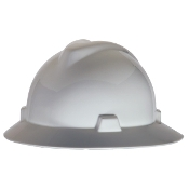 MSA V-GARD FULL BRIM HARD HAT - WHITE-RATCHET SUSPENSION